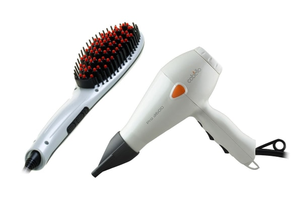 Cabello Hair Straightening Brush & Pro Hair Dryer Bundle (Pearl White)