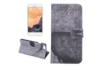 For iPhone 8 PLUS 7 PLUS Wallet Case Modern World Map Durable Leather Cover Grey