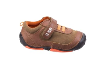 Hush Puppies Childrens/Boys Harry Touch Fastening Leather Trainers (Brown)