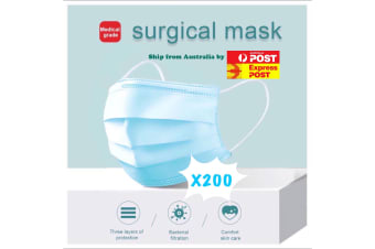 200 X Disposable Surgical Medical Face Mask Protective Masks 3 layers for Medical Dental Flu