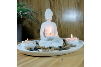 Buddha Figurine Set Tealight Incense/Candle Holder Rock Garden 29 cm Ceramic  - B