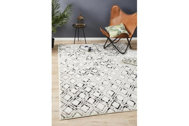 Felicia Grey & Charcoal Soft Geometric Rug 330x240cm