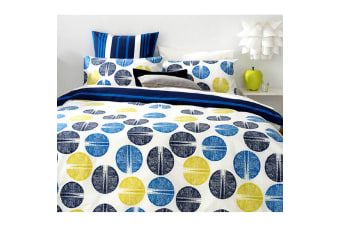 Frankie Cobalt Reversible Polyester Cotton Quilt Cover Set by Apartmento
