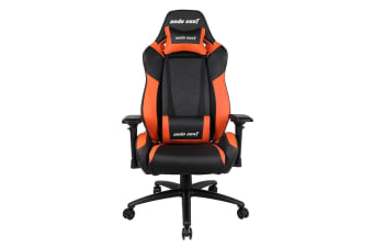 Anda Seat AD7-23 Large Gaming Chair with 4D Armrest, 60mm Casters, Premium Black Aluminium Feet - Black/Orange