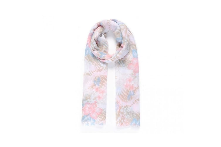 Intrigue Womens/Ladies Wood Effect Floral Print Scarf (Blue) (One Size)