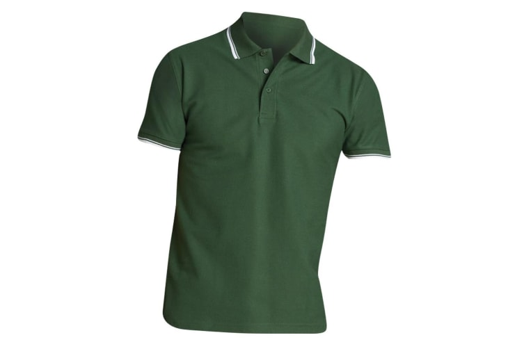 SOLS Mens Practice Tipped Pique Short Sleeve Polo Shirt (Green/White) (S)