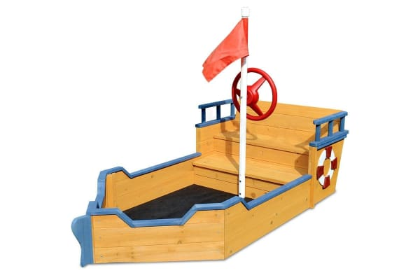 NEW Kids Boat Sandpit - Wooden Outdoor Play Sand Pit Children Toy Box Large
