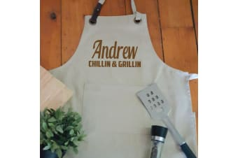 Personalised Apron with Pocket - Natural