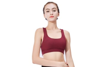 Yoga Bra Support Sports Running Shock-Proof Gathering Sports Wine Red L
