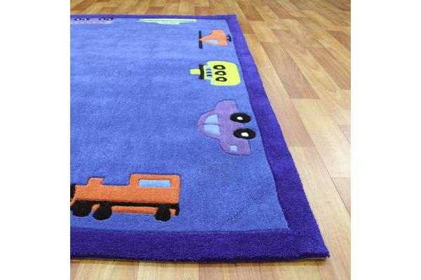 Fun Automobile Boys Rug Blue 165x115cm
