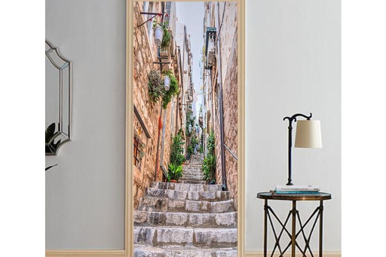 3D Branch Stone Ladder Street Tall Buildings Door Mural Woven paper (need glue), XXL 205cm x 82cm (HxW)(81''x32'')