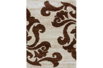 Damask Pattern Shag Rug Beige Brown 230x160cm
