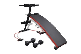 vidaXL Adjustable Multifunctional Sit Up Bench with 3 kg Dumbbells