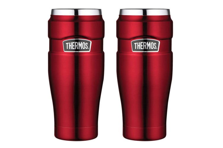 2PK Thermos 470ml Vacuum Double Wall Insulated Stainless Steel King Tumbler Red