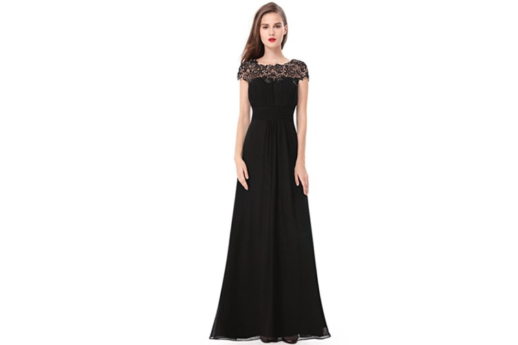 Womens Cap Sleeve Lace Neckline Ruched Bust Evening Gown Black 2Xl
