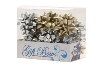 Apac Metallic Galaxy Gift Bows - 15 Pack (Silver/Gold)