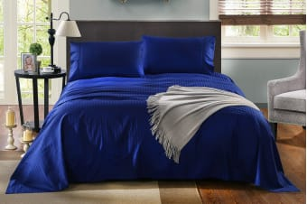 Royal Comfort Kensington 1200TC 100% Egyptian Cotton Stripe Bed Sheet Set (King, Indigo)