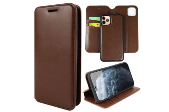 ZUSLAB iPhone 11 Pro Max Leather Wallet Case Detachable Kickstand Magnetic with Credit Card Holder Slot & Shockproof Interior Protective Cover - Brown