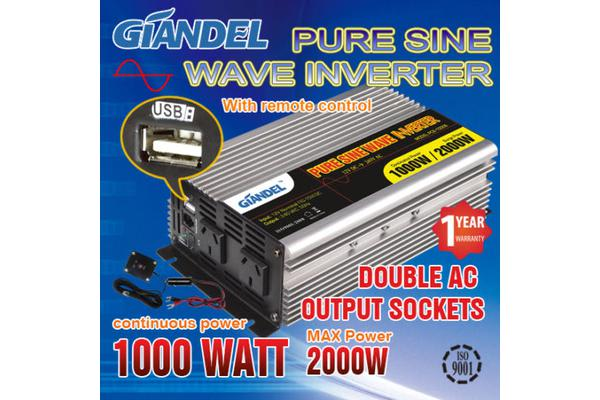 Image of Pure Sine Wave Inverter Thermal Overload Protection 1000W