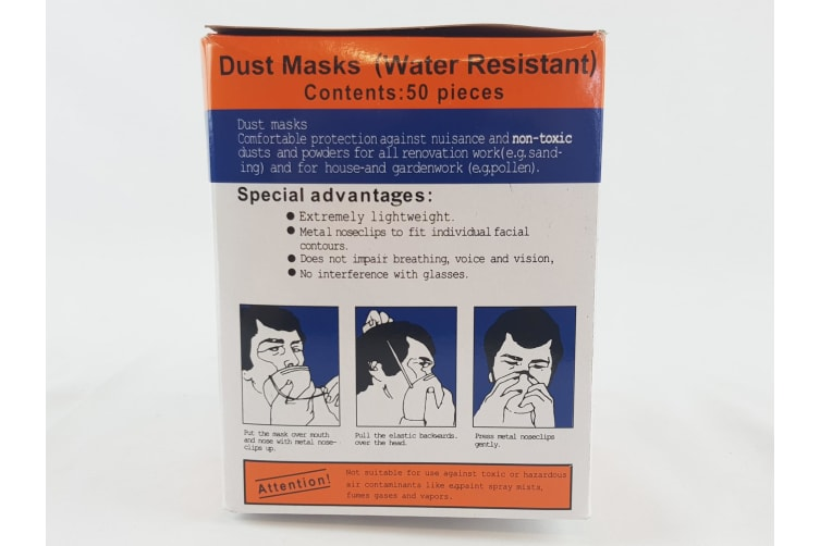 50 pk Disposable Dust Mask Safety Face