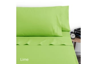 250TC Polyester Cotton Sheet Set Double Lime by Artex