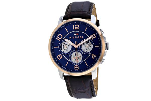 Tommy Hilfiger Men's Classic Watch (Blue Dial, Leather Strap)