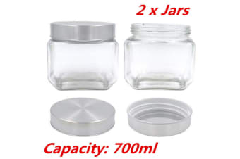 2 x 700ML Square Canister Jar Silver Screw Top Lid Jar Airtight Food Storage