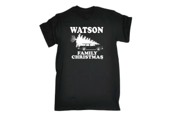 123T Funny Tee - Watson Family Christmas - (XX-Large Black Mens T Shirt)