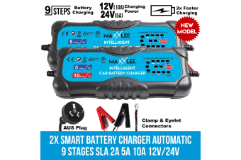 Maxxlee 2x Smart Battery Charger Automatic 9 Stages SLA 2A 5A 10A 12V/24V Caravan 4WD Elinz