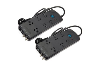 2PK Jackson Home Theatre Power Board 6 Way Outlets w/ Surge Protection Strip