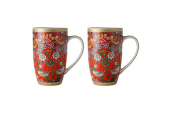 2x Maxwell & Williams Morris 420ml Porcelain Floral Coffee Tea Coupe Mug Cup Red
