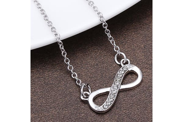 Infinity And Beyond Necklace w/Swarovski Crystals-White Gold/Clear