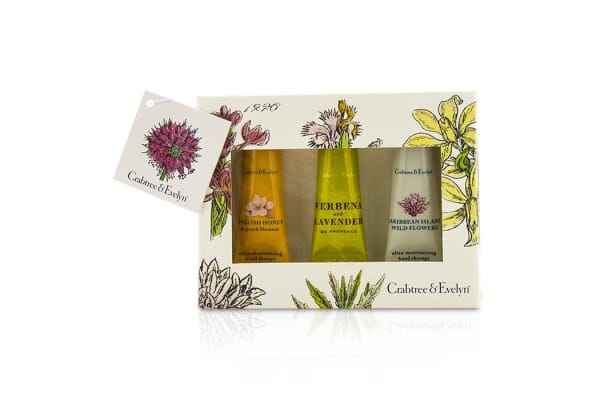 Crabtree & Evelyn Ultra-Moisturising Hand Therapy Set: English Honey 25g + Verbena & Lavender 25g + Caribbean Island Wild Flowers 25g (3pcs)