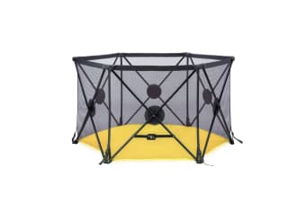 Kidbot Travel Child Pop Up Playpen Foldaway Baby Playpen 6-Panel Yellow
