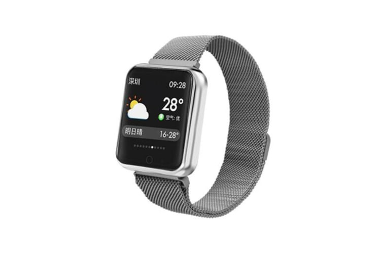 WJS 1.3inch Color Screen Blood Pressure Heart Rate Monitor Sport bluetooth Smart Wristband Watch-GREY