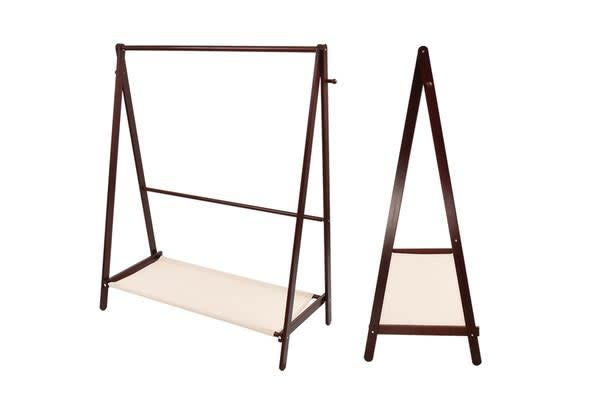 Wooden Garment Coat Clothes Stand Rack - Brown