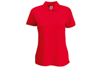 Fruit Of The Loom Womens Lady-Fit 65/35 Short Sleeve Polo Shirt (Red) (XL)