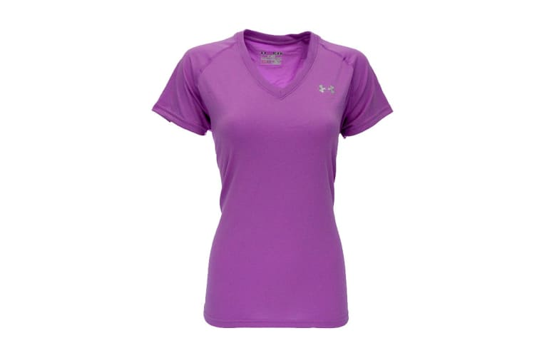 Under Armour Women's UA Tech V-Neck T-Shirt (Lilac Purple/Steel, Size S)