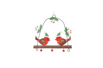 CGB Giftware Christmas Perched Robins Hanging Decoration (Red/Green)