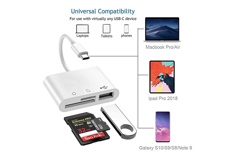 USB C SD Card Reader,Type C to Camera Memory Card Reader TF Micro SD Card 3 in 1 USB OTG Adapter Compatible with MacBook Pro, MacBook Air/iPad Pro 2018, Samsung Galaxy S10/S9/S8, XPS