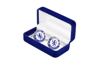 Chelsea FC Mens Official Metal Football Crest Cufflinks (Blue/White) (One Size)