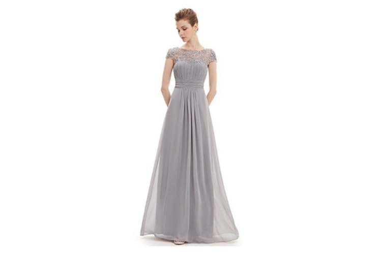 Womens Cap Sleeve Lace Neckline Ruched Bust Evening Gown Grey L