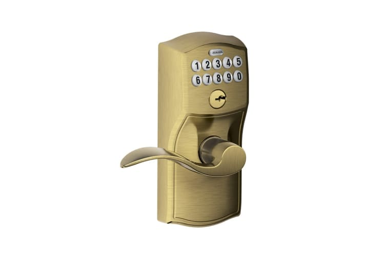 Schlage Keypad Lever with Camelot Trim and Accent Lever with Flex Lock (Antique Brass)