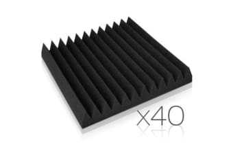 Set of 40 Studio Acoustic Foam Panel Wedge 30cm with Glue (Black)