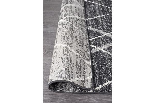 Amelia Charcoal & Grey Abstract Durable Runner Rug 500x80cm