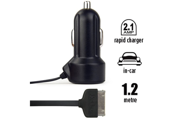Gecko 2.1A Car Travel Charger 1.2m Adapter For iPad/iPod/iPhone 3G/3GS/4/4S BLK