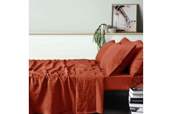 100% Linen Tobacco Sheet Set SUPER KING