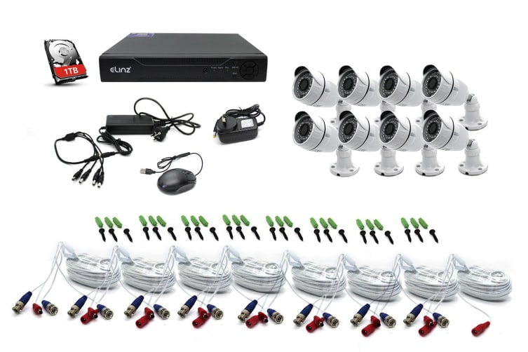Elinz 8CH CCTV Security 8x Cameras System 1080P DVR Face Detection 1TB