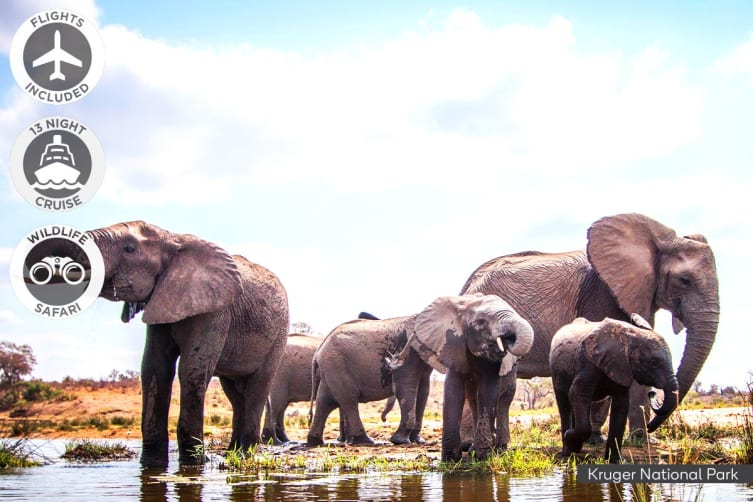 SOUTH AFRICA: 22 Day Cruise & Safari Package Including Flights for Two (Inside Cabin)