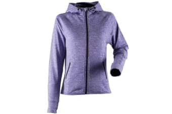 Tombo Teamsport Womens/Ladies Lightweight Running Hoodie With Reflective Tape (Purple Marl) (XL)